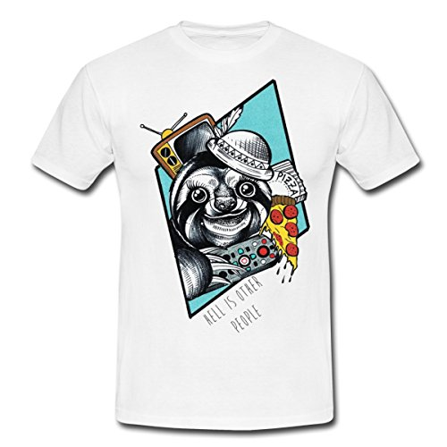 lustiges-faultier-manner-t-shirt-von-spreadshirtr-xl-weiss
