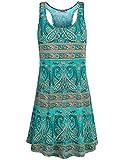 Hibelle Trapez Kleid, Frauen Rundhalsausschnitt ärmellos Lässiges, bedrucktes Swing A-Linie Tunika Tank Kleid mit Taschen Grün XL ST Patricks Day Shirt