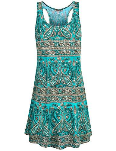 Hibelle Trapez Kleid, Frauen Rundhalsausschnitt ärmellos Lässiges, Bedrucktes Swing A-Linie Tunika Tank Kleid mit Taschen Grün XL ST Patricks Day ()