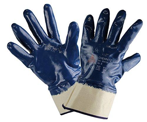 12 PAAR - CHEMNITZ, 5-Fg. Sicherheitshandschuhe Nitril blau, vollbeschichtet. Chemie-, Wasserabweisend. Universeller Arbeitshandschuh Gartenhandschuh - Größe: 11