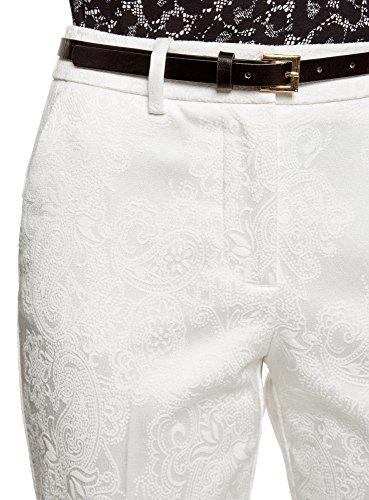 oodji Collection Damen Jacquard-Hose mit Gürtel Weiß (1200N)