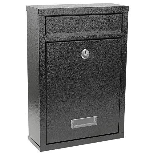 PrimeMatik - Boîte aux Lettres métallique coloré Noir pour Mur 215 x 82 x 315 mm