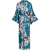 BABEYOND Vestido de satén de seda de Kimono vestir Peacock Vestido de quimono para las mujeres Pijamas de seda de la boda