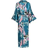 "BABEYOND Kimono Robe de Nuit Femme Robe de Chambre Longue Robe de Nuit Peacock Kimono Long Chemise de Nuit Kimono 53""/135cm"