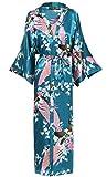 BABEYOND Vestaglia Kimono Donna Kimono Donna Lungo Pigiama Kimono Donna Vestaglia Kimono Raso con Cintura (Turchese)
