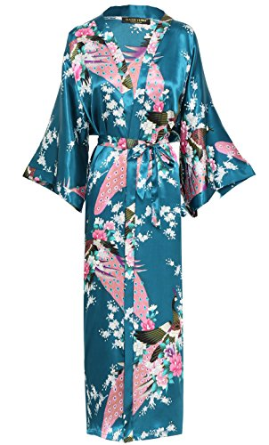 BABEYOND Damen Morgenmantel Maxi Lang Seide Satin Kimono Kleid Pfau Muster Kimono Bademantel Damen Lange Robe Schlafmantel Girl Pajama Party 135cm Lang (Türkis) (Party-kleid Seide)