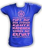 Artdiktat Damen T-Shirt Pups auf Den Storch - Echte Mädchen Kommen Aus Erfurt Größe XXL, Blau