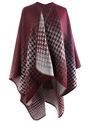 futurino da donna Retro gradiente Pattern Poncho Coverup sciarpa Red and White Taglia (White Pattern Sciarpa)