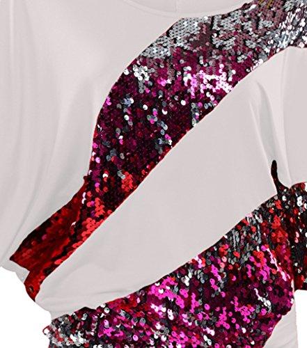 NiSeng Art und Weisefrauen Sommer Sequined Lose Bluse Beiläufiges Hemd T-Shirt Boot-Ausschnitt Unregelmäßige Pailletten Shirt Weiß