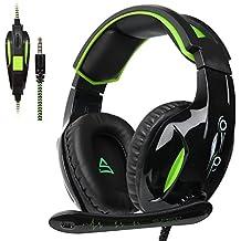 Supsoo Auriculares G813 estéreo de 3,5mm, con Cable, para Juegos, con micrófono, cancelación de Ruido y Control de Volumen, para Xbox One/PC/Mac/PS4/tablet/teléfono (Negro y Verde)