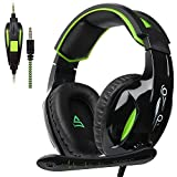 Supsoo G813 New Xbox One Gaming-Headset 3,5 mm Stereo Over-Ear-Kabel Gaming-Headset mit Mikrofon & Geräuschunterdrückung & Lautstärkeregler Xbox One/PC / Mac / PS4 / Tisch/Telefon (schwarz & grün)