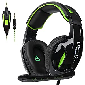 [Supsoo G813 New Xbox One Gaming-Headset] 3,5 mm Stereo Over-Ear-Kabel Gaming-Headset mit Mikrofon & Geräuschunterdrückung & Lautstärkeregler für neue Xbox One / PC / Mac / PS4 / Tisch / Telefon (schwarz & grün)