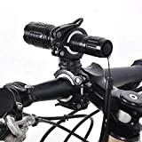 JohnJohnsen Universal-Fahrrad-Taschenlampen-Clip 360 ° Rotation Gebirgsstraßen-Fahrrad Lenker Fackel Clip Fahrradlampe Halterung Halter (schwarz-weiß)