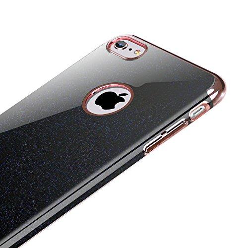 iPhone 6S Hülle, iPhone 6 Hülle, BENTOBEN dünn leicht Handyhülle harte PC Case Plating Schutzhülle für iPhone 6 6S (4.7 Zoll) schwarz M844-Schwarz