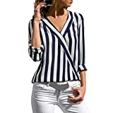 Damen Langarmshirt,Innerternet Mode Frauen Langarm Gestreift Blusen Elegant V-Ausschnitt Lose Bluse Hemd Pullover Sweatshirt Oberteil Tops Herbst Damen Bekleidung