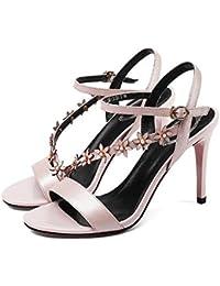 YXINY Zapatos de tacón Sandalias Tacones Altos PU + TPR Resistente Al Desgaste 9CM Blanco Rosa ( Color : Pink...