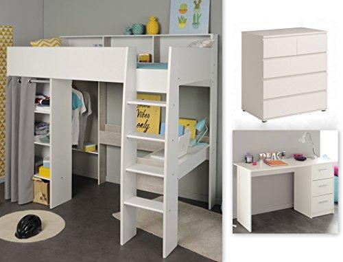 expendio Jugendzimmer Tomke 16 weiß 205x193x132 cm Hochbett mit Schreibtisch Bett Schreibtisch Kommode - Loft Bett Mit Schreibtisch