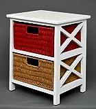 Ts-Ideen 4203 - Comodino con 2 cestini in rattan, altezza 45 cm, colore: Beige/Rosso