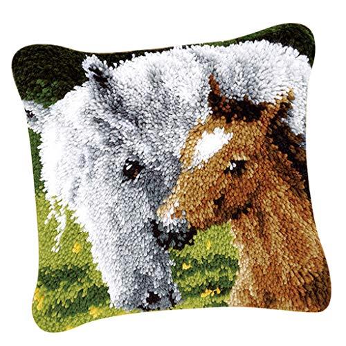 perfk DIY Knüpfkissen Tier Muster Sofakissenbezug zum selber Knüpfen, Knüpfpackung Kunsthandwerk Latch Hook Kit - Pferd -