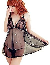 Samgu-Tournesols sexy sous-vêtements de lingerie transparente bretelles noirs sexy perspective Pyjamas