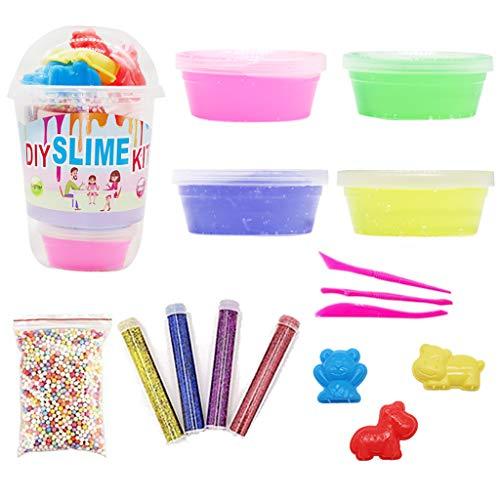 Dapei Farbmischung Wolke Zuckerwatte Schleim Set: 1 Slime Foam Balls+4 Flaschen Glitzer Pailletten+4er Pack Schleim+ 3 Schleimwerkzeuge+3 Spielzeug Messer Kinder Simulation Lehm Spielzeug Geschenk (A)