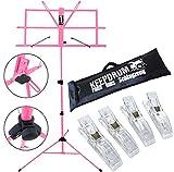 KEEPDRUM MUS2 PK Notenständer Pink + Tasche + 4 Stück Clip Notenklammer