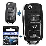 Auto Schlüssel Funk Fernbedienung 1x Gehäuse 3 Tasten Schwarz + 1x Rohling HA66 + 1x CR2032 Batterie für VW SEAT Skoda