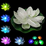 LOGUIDE White China Lotus Flower Water Lily Pond Color Changing Waterproof Floating LED Dragonfly Lights 12pcs - LOGUIDE - amazon.co.uk