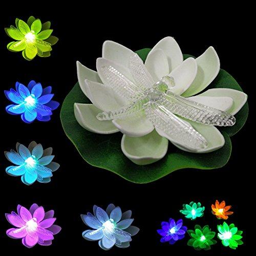 LOGUIDE Multi Farbe ?ndern wasserdichte schwimmende batteriebetriebene LED Lotus Blumen Libelle Pool Lichter, Leuchtk?fer Blume Nacht Licht Lampe f¨¹r Teich Garten Haus Party Weihnachten 12pcs (Schwimmende Lotus Kerzen)