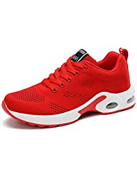 Womens Ladies Trainers Running Fitness Air Sneakers Athletic Lace up Sports Shoes Black Pink Purple Red 4cm 35-40