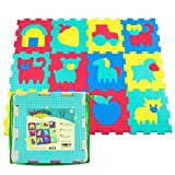 Foam Play Mat for Babies and Children   12 EVA Foam Floor Tiles with Farm Theme in a Storage Bag   +20% Thicker and Softer Puzzle Mat for Crawling and Learning   100% Safe, Non-toxic, Odorless