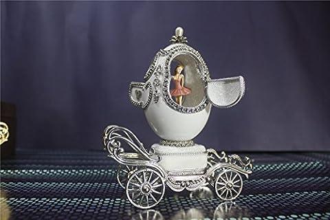 cuzit Ei Creative Music Box Carving Handwerk Musicbox Mini Eggshell Spieldosen Beste Geschenk für Hochzeit, Jahrestag, Lover, Geburtstag, Valentinstag Tages Ballerina Ballett-Tanz auf Kutsche