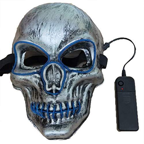 QWEASZER Leuchtende Maske Grimasse Erwachsener Luminous Dance Maske Bar Devil Horror Kopfbedeckung Spukhaus Schädel Maske Halloween Kostümpartys Maskeraden Terror Theme Party,D-16.5X24CM