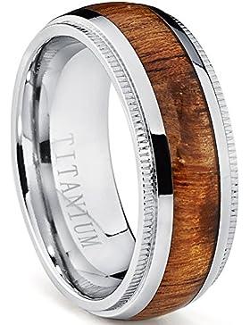 Dome Herren Titan Ehering,Titan Verlobungsring Mit Echtholzeinlage 8mm Bequemlichkeit Passen,Größe 52 to 67.5