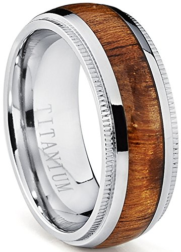 Ultimate Metals Co. Dome Herren Titan Ehering,Titan Verlobungsring Mit Echtholzeinlage 8mm Bequemlichkeit Passen,Größe 67.5