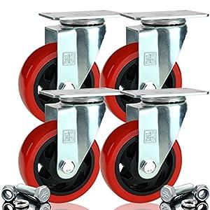 DSL 4 x Heavy Duty UNBRAKED Double Bearing 100mm Rubber Swivel Castor Wheel Trolley Furniture Caster 700KG Free Fitting