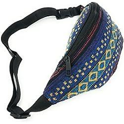 Riñonera hippies Étnicas Rasta Urbana Chico / Chica piscina cómoda y de tela Estampada Novedad Moda (Blue Ring Yellow)