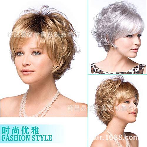 Ensemble perruque à cheveux courts européens et américains haute température, gris et argenté.