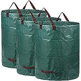 AIXMEET Sacs de Jardin 3x300L, Sacs à Déchets de Jardin Résistants, étanche Heavy Duty Grande Sacs avec Poignées, Pliable et