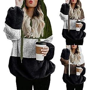 Toasye Damen Kapuzensweatshirt Mit ReißVerschlusstasche Langen äRmeln üBergroßE Warme Kapuzenpullover ReißVerschluss BeiläUfiges, Loses Kapuzenpullover