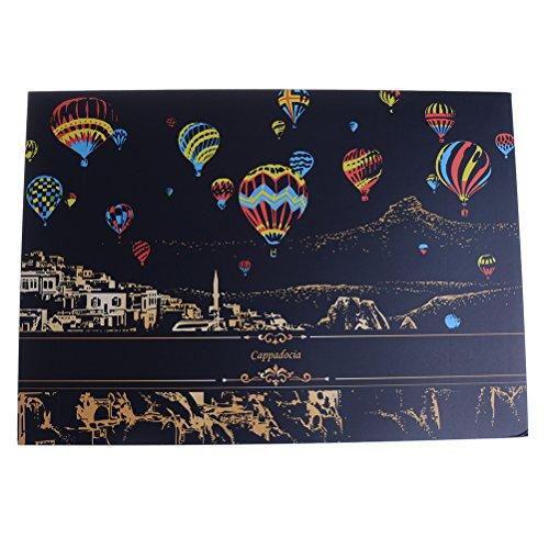 Bunte Kratzkunst-Unterlage DIY Papier Kratzen mit 1Goldenen Stift und 1Holzstift Cappadocia Hot Air Balloon