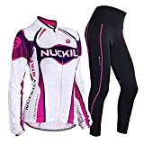 NUCKILY Women's Thermal Fleece Cycling Jacket And Pants Suit