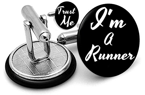 Trust Me I'm A chemin de boutons de manchette athlétisme Marathon Olympique Running BN Livrées dans une pochette cadeau