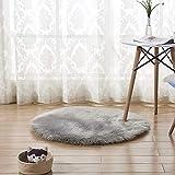 INMOZATA Kunstfell Schaffell Teppich Rund Flauschig Teppich Sitzkissen Teppich Weicher Bereich Teppich für Wohnzimmer Schlafzimmer Sofa Stuhl Boden 60 x 60 cm grau