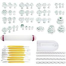 Herramientas para decoración de pasteles Rocita (moldes de hoja, cortador, boquilla para fondant, espátula para glaseado y rodillo), plástico, 68Pcs