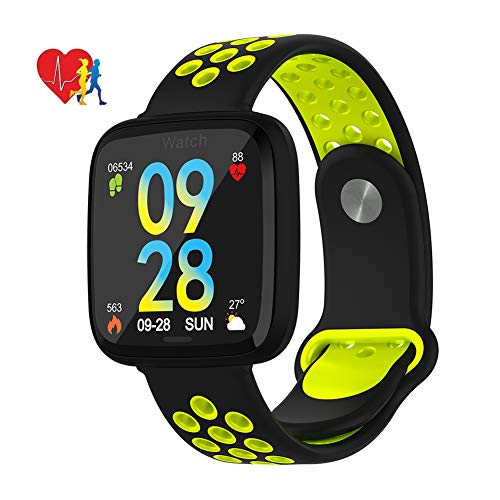 MrRong Fitness Tracker, Aktivitäts-Tracker-Uhr mit Pulsmesser Wasserdichter IP67 Smartwatch-Schrittzähler für iOS und Android,Green