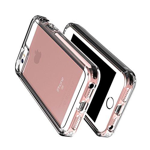 OMOTON iPhone SE/5S/5 Cover [PC + TPU + TPE]Versione Aggiornata , Anti-scivoloso ,Anti-Graffio ,Posteriore Trasparente ,Nero Nero