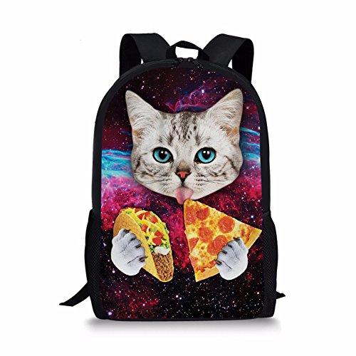CHAQLIN Mochila escolar Morado gato Medium