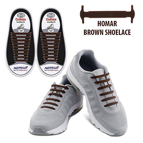 Homer No Tie Shoelaces Schalten Sie Ihre Schuhe in Slip-On Wasserdichte Silikon Lauf Shoelaces Multicolor Schnürsenkel Perfekt für Camper Männer Erwachsene und Kinder - Brown (Sportliche Haken)
