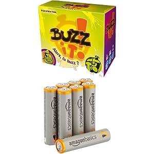 Asmodee - BUZ01 - Jeu d'ambiance - Buzz it + piles AAA AmazonBasics